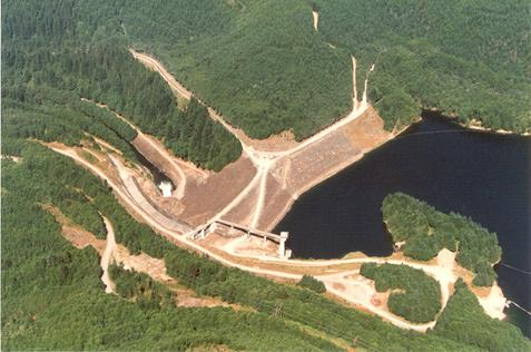 Howard Hanson Dam and reservoir. Photo copyright King County.
