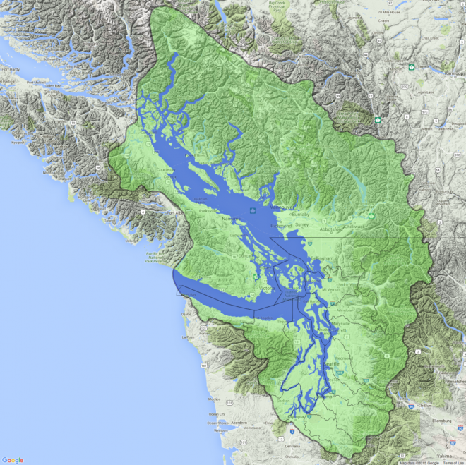 Map of Salish Sea basin and water boundaries w/ WRIA boundary for reference. Map: Kris Symer. Data: Stefan Freelan; WAECY.