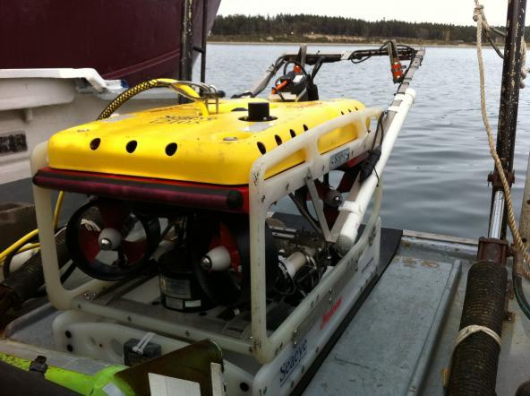 A small remotely operated vehicle (ROV) used for surveying the seafloor