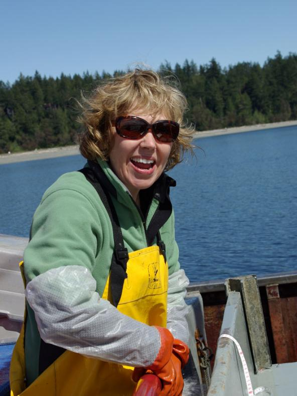 Sandie O'Neill sorting the catch during a bottom trawl survey. Photo: Jim West, WDFW