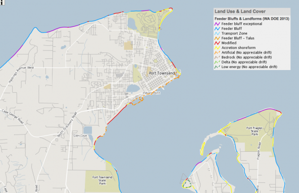 Screenshot of shoreform data including feeder bluffs. Source: ERMA mapping system, NOAA; Open Street Map